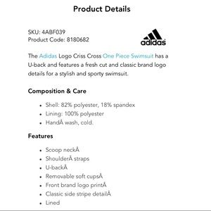 adidas Swim - Adidas Logo Criss Cross One-Piece Swimsuit